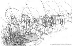 Automotive Illustration of a Ferrari Engine Working Drawings by Tony Matthews Working Drawing, Drawing Skills, Drawing Techniques, Technical Illustration, Technical Drawing, Engine Working, Contour Drawing, Ex Machina, Drawing Artist