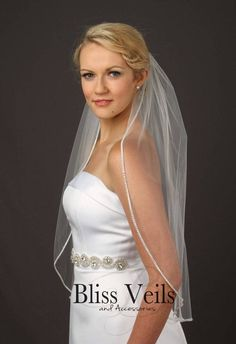 Bridal Veil with Crystals - 1 Tier Wedding Veil - Crystal Beaded Veil - Available in 10 Sizes, Fast Shipping! Stunning rhinestone veil is shown in waist length. Veil is a single tier veil and comes in 10 different lengths from fingertip to cathedral Veil Length, Short Veil, Unique Mothers Day Gifts, Thing 1, Wedding Veils, Wedding Dresses, Blush Color, Bridal Accessories, Crystal Beads