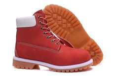 Red and White Leather timberland 6 inch boots Mens