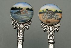 "William Adams Ltd, Birmingham, 1949 - A set of six silver teaspoons with enamel finials, 3 with a swimmer and 3 with a motorcyclist. The teaspoons have an attractive stem, and all 6 are fully hallmarked on the back of the bowl, and all are stamped ""England"". The enamels were hand painted, as the details on each differ slightly. We can only guess as to their origin, perhaps a special commission for a family involved in both sports. Enamels, Silver Enamel, Birmingham, Decorative Plates, England, Stamp, Hand Painted, The Originals, Sports"