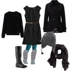 """""""Black Dress & Teal Tights"""" by apartment24d on Polyvore"""