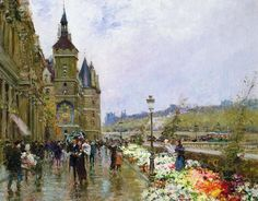 Flower Sellers By The Seine Print featuring the painting Flower Sellers By The Seine by Georges Stein