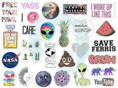 Set 125. Mockup printable Tumblr Stickers by BestStickersClub