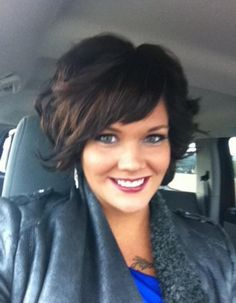 lauren lindner wavy bob. Shorter than I want, but I love the bangs and texture.
