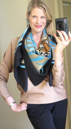 How to wear a giant scarf, Hermes Tigre Royal 140 carre Square Scarf Tying, Blue Trousers, Fashion Capsule, Summer Scarves, How To Wear Scarves, Silk Scarves, Scarf Styles, Chic Outfits, Casual Wear