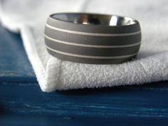 Titanium Silver Ring or Wedding Band Mens Ring Handsome Sandblasted on Etsy, $59.50