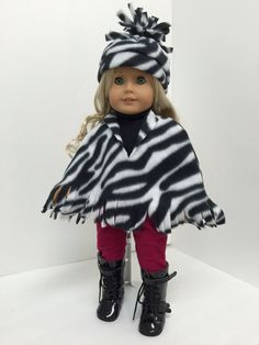 Zebra print fleece poncho and hat layers with her leggings and boots--trendy and functional! Chloe's Closet, Fleece Poncho, Zebra Print, Doll Clothes, Harajuku, Layers, Hipster, Leggings, Dolls