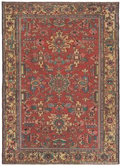 SERAPI HERIZ, Northwest Persian, 8ft 8in x 12ft 0in, Circa 1900. The antique Oriental rugs from the Persian Azerbaijan region, such as this quite unique, abundantly artistic Heriz, have a quintessential simplicity that is quite popular among clients with both contemporary and traditional homes.