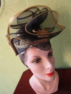 Adorable Sonni Cocktail Fascinator Hat Gold Lurex Black Tulle Vintage San Francisco Nordstroms by FabulousVintageHats on Etsy
