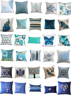 Blue Throw Pillow Covers  www.UpholsterEase.com