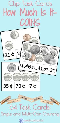 Clip Task Cards for identifying coin values- single and mixed coins. Great set with data sheet!