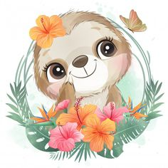Cute Little Sloth Portrait With Floral Watercolor Flower Background, Watercolor Trees, Floral Watercolor, Watercolor Portraits, Watercolor Landscape, Watercolor Painting, Panda Illustration, Watercolor Illustration, Baby Animal Drawings