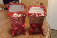 """These are what I made for my child's teacher and bus driver. I found these tins during the holidays in the dollar alse @ Target. I filled them both with any mint candy or gum I could find. Some choc. mint, peppermint kisses, pepermint candy and gum to name a few. Then on the teacher's gift I made a note saying """"Thank you for making this year an enjoy'mint'.  On the bus drivers note it says """"I 'mint' to tell you how much I appreciate you keeping me safe this year!"""" Of course I added some…"""