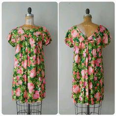 Vintage Hawaiian Dress Pink and Green Hawaiian by RackedVintage