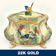 Absolutely love little blue fairy wrens and this dish is so pretty for the dressing table!