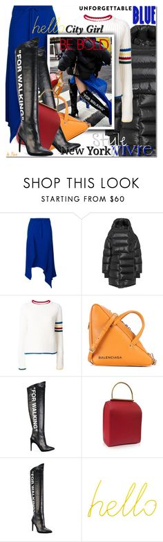 """Off-White """"For Walking"""" knee-high boots"" by deneve ❤ liked on Polyvore featuring Marques'Almeida, Balenciaga, Thom Browne, Sebastian Professional, Off-White, Roksanda, Block, Boots, Newyork and bold"