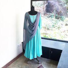 Turquoise Anarkali suit