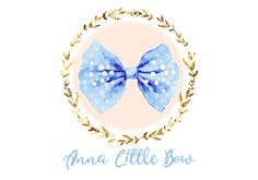 Custom Logo design blue and gold bow Logo and by HappyLogo on Etsy