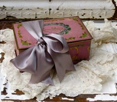 Shabby Chic Lovely Vintage Sherry Louis Tin by redstripevintage  $34