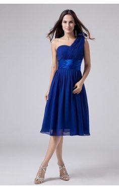Allure A-line Tea-length One Shoulder Royal Blue Chiffon Dress