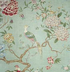 Oriental Bird - GP Baker for headboard in bedroom