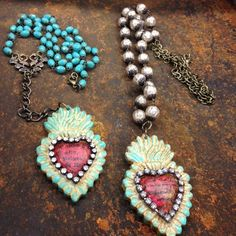 Having too much fun creating with the @relicsandartifacts line! I want to keep these for me! @sandraevertson #vintagebliss #jewelry #sacredheart #beeswax #heart #valentinesday #turquoise #rosary