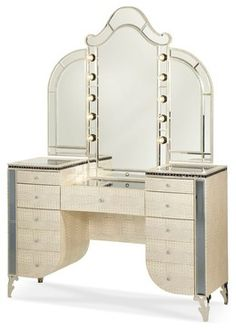 AICO Hollywood Swank Upholstered Vanity and Mirror in Crystal Croc - Transitional - Bedroom & Makeup Vanities - by Quality Furniture Discounts