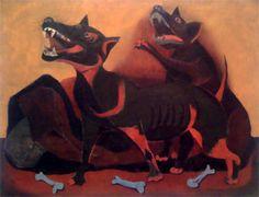 Destacan los tonos naranja y negro y se ve a dos perros que están peleándose por la comida ya que se pueden apreciar trozos de hueso.