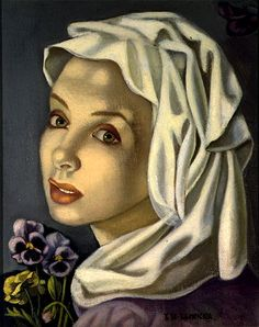 Tamara de Lempicka: Girl with pansies - c. 1945 - Richard and Anne Paddy Collection - Art Deco Art Deco Artists, Art Deco Paintings, Pinturas Art Deco, Tamara Lempicka, Moda Art Deco, Estilo Art Deco, Art Deco Stil, Art Deco Movement, Social Art