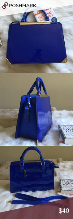"""• Blue Satchel with Gold Hardware • New never use before. Gold hardware make the color pop at perfect size. Features zip closure ,double top handles measures 12"""" , shoulder strap, 2 inside pockets  and outside pocket. Bags Shoulder Bags"""