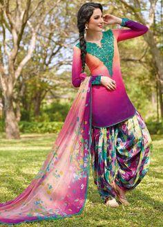 Shaded Purple Cotton Punjabi Suit