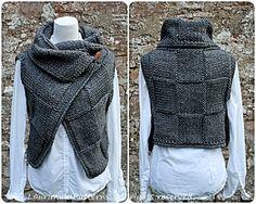 Knitting PATTERN-Big square wrap, womens sleeveless jacket pattern, cardigan pattern - - C b - Patrons de tricot Cardigan Pattern, Jacket Pattern, Big Cardigan, Wrap Pattern, Sleeveless Jacket, Knit Vest, Vest Jacket, Crochet Clothes, Knit Crochet