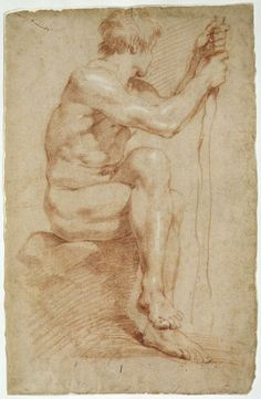 Gian Lorenzo Bernini, Italian, 1598–1680: Seated Male Nude, ca. 1618–24. Red chalk, heightened with white, on buff laid paper