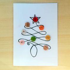 Felicitare Brad de Craciun – Create de Cati :) Button Christmas Cards, Christmas Decorations, Christmas Tree, Catio, Handmade Christmas, Clock, Create, Buttons, Design