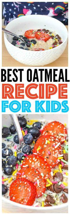 kid friendly breakfast recipe best oatmeal recipe for breakfast that kids will love on Mini Chef Mondays kids cooking series via @CourtneysSweets