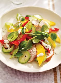 Ricardo's recipes : Mango, Bell Pepper and Pork Salad Paleo Recipes, Real Food Recipes, Cooking Recipes, Ricardo Recipe, Pork Salad, Recipe For 2, Food Categories, Summer Salads, Healthy Eating