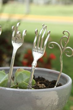 Garden markers.  I am going to try to do this with some of my collection of vintage silverplate.