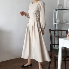 Colors: Beige Black Size** The length measured with the garment on the floor. Length cm Shoulder cm Chest cm (around Fabric: Cotton **Notice Processing time : 3 4 days Normal shipping takes 2 ~ 4 weeks. Modest Dresses, Simple Dresses, Casual Dresses, Tunic Dresses, Modest Fashion, Fashion Dresses, Slow Fashion, Cotton Dresses, Flare Dress