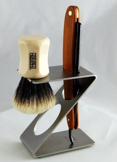 Dovo Contemporary Stainless Steel Straight Razor and Brush Stand - $71.99 :