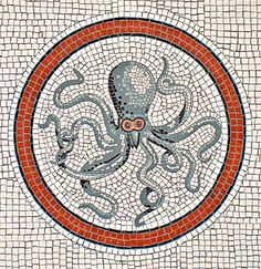 Octopus mosaic a la Pompeii: Trompe l'oeil painting by artist Adrian Card