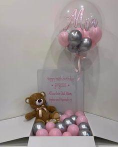 Balloon Box, Balloon Gift, Balloon Bouquet, Diy Wedding Decorations, Balloon Decorations, Birthday Decorations, Bubble Balloons, Helium Balloons, Birthday Box