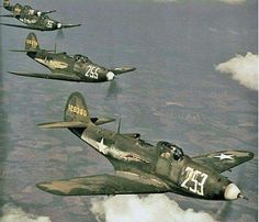 P-39 Airacobra fighters in formation (Date and location unknown)