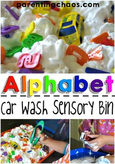 Alphabet Car Wash Sensory Bin: Sensory Bins are a fabulous tool for learning. They are a quick and easy way to get children engaged while exploring a variety of different skills and concepts.