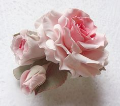 """Polymer clay jewelry soft pink rose barrette  """"My sweet dream"""". Made to order via Etsy"""