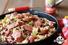 One-Pot Red Beans and Rice - Southern Bite Cajun Recipes, Rice Recipes, Pork Recipes, Dinner Recipes, Cooking Recipes, Dinner Ideas, Skillet Recipes, Skillet Meals, Cajun Food