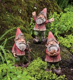 Woodland Gnome Trio  Our set of 3 gnomes add some magic outdoors near a tree, in your flower bed, or around the bushes. Each resin gnome has the look of finely carved wood and is painted with lifelike details, from their pointy hats to their curled up shoes. Set includes a gnome with walking stick, one with a pet snail, and one with a bird on hat.  From Plow and Hearth