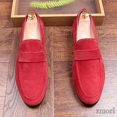 Red Suede Point Head Mens Flats Loafers Dapper Mens Dappermen Shoes sold by Lajuria. Shop more products from Lajuria on Storenvy, the home of independent small businesses all over the world. Mens Red Shoes, Mens Shoes Boots, Shoe Boots, Suede Leather, Leather Men, Leather Shoes, Expensive Mens Shoes, Custom Design Shoes, Green Suede