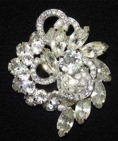 "Glamorous Vintage Signed Eisenberg Crystal Clear Rhinestone Floral Brooch 2 1 2"" | eBay"