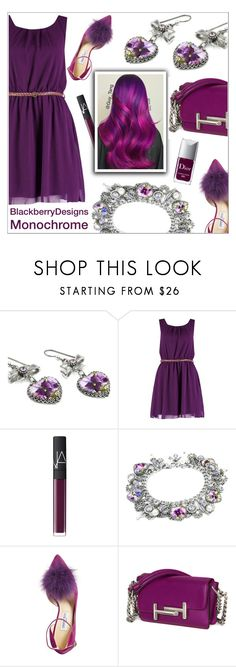"""Monochrome: Purple"" by shambala-379 ❤ liked on Polyvore featuring Boohoo, NARS Cosmetics, Jimmy Choo and Tod's"