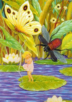 Thumbelina - illustration by Rudolf Koivu Art And Illustration, Book Illustrations, Amazing Drawings, Art Drawings, Dragonfly Art, Art For Art Sake, Fantasy Creatures, Flower Art, Illustrators